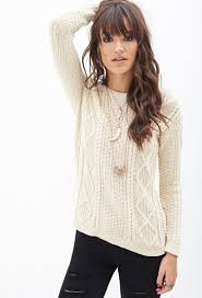 forever 21 slouchy cable knit sweater in lyst