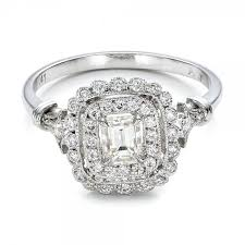 estate engagement rings 100902 this estate engagement ring features an emerald cut