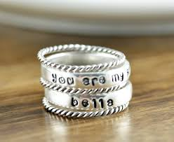 mothers rings stackable engraved mothers ring stackable name rings gift for name rings