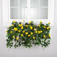 Faux Outdoor Bushes 30in Window Box Recipe Outdoor Artificial Morning Glory Vines