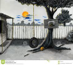 backyard basketball game creative hand graphics stock photo