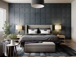 BedroomGrey Wallpaper Bedroom Textured In Squares Chequered With - Wallpaper design for bedroom
