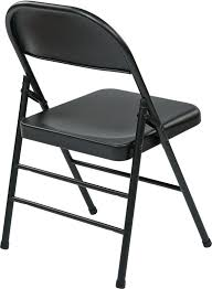 stylish work smart folding chair with metal seat and back set of 4
