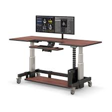 Adjustable Height Rolling Computer Desk Afcindustries Regarding