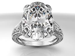 large diamond rings engagement ring large oval diamond cathedral graduated pave