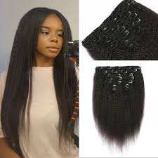 hair clip ins 120g coarse yaki clip in hair extensions unprocessed mongolian