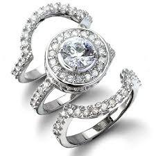 wedding set rings cybill s antique style three ring cz wedding set 4 three rings