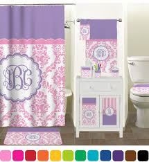 Purple Nursery Curtains by Pink White U0026 Purple Damask Shower Curtain Personalized Baby N