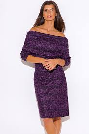 plus sweater dress plus size purple print shoulder sweater dress la mode