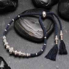 jewelry silver handmade bracelet images Cromagnon karen silver bracelet indigo dyed hand spun cotton jpg