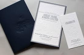 design wedding invitations classic navy debossed wedding invitations by gretchen berry design