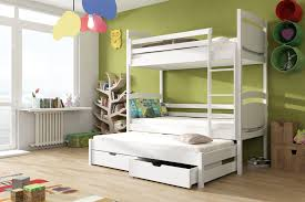 Wooden Bunk Bed Colo With Trundle And Storage  Arthauss Furniture - Wooden bunk bed with trundle