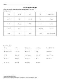 derivatives bingo chain rule worksheets and calculus