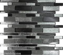 SF Metallic Silver Black Glass Stone Mosaic Tile Wall Kitchen - Silver backsplash