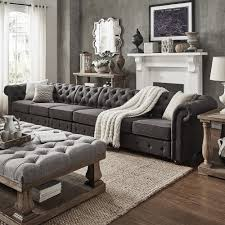 Chesterfield Sofa Outlet Knightsbridge Dark Grey Linen Oversize Extra Long Tufted