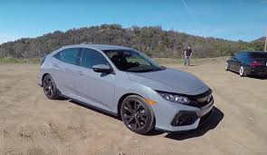 grey honda 2017 honda civic hatchback with manual gets smoking tire review