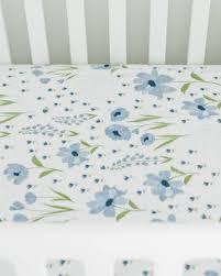 Muslin Crib Bedding Blue Windflower Cotton Muslin Crib Sheet Lil Tulips