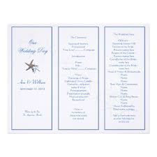 tri fold program starfish tri fold wedding program template zazzle
