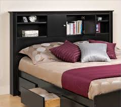 awesome bookcase headboard design ideas to add some storage space