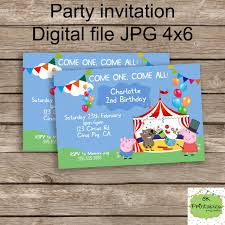peppa pig and george circus invite peppa birthday personalized
