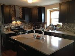 Grey Laminate Flooring Ikea Grey Stone Ikea Backsplash With Black Wooden Kitchen Cabinet And