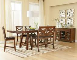 furniture brown stained wooden kitchen pedestal table with bench