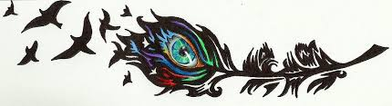 tribal peacock feather drawing by sink