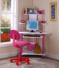 Small Kid Desk Brand Pink Finish Corner Workstation