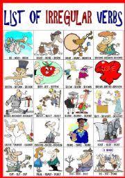 english worksheet list of irregular verbs 1 5 language pinterest