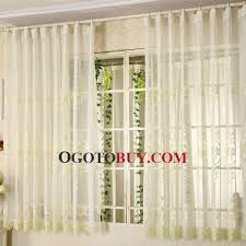 Embroidered Linen Curtains Elegant Beige Linen Fabric Bay Window Curtain Embroidered With