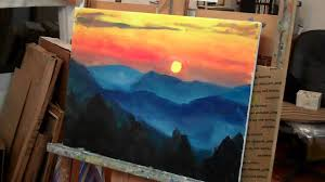 paint a mountain sunset in acrylics youtube