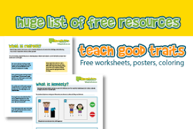 a huge list of free printables for character education worksheets