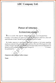 Generic Power Of Attorney Form by Power Of Attorney Sample Sop Example