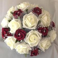 burgundy roses wedding bouquet of artificial foam ivory burgundy flowers