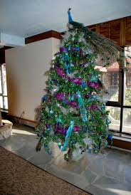 fancy tree ornaments with blue purple colors mesh