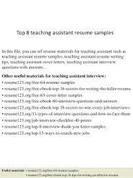 Resume Examples For Teacher Assistant Sample Teacher Assistant Resume Top 8 Teaching Assistant Resume