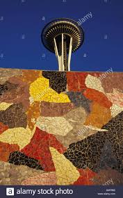 seattle space needle and colorful mosaic tile wall of the mural seattle space needle and colorful mosaic tile wall of the mural amphitheater seattle center seattle washington