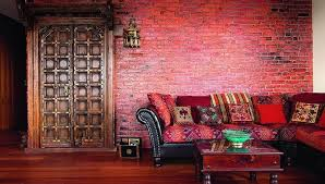 Red Brick Walls Interior Design Oriental Apartment Where The Living Room Features Bold Red Brick