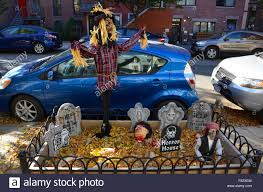 halloween decorations brooklyn park slope new york stock photo