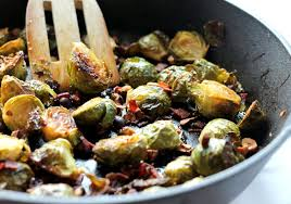 maple roasted brussels sprouts with bacon toasted hazelnuts