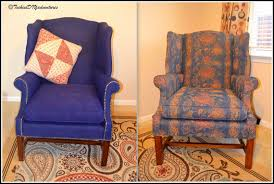 Upholstered Wingback Chair Painted Fabric Upholstered Wing Back Chair Pottery Barn Knockoff