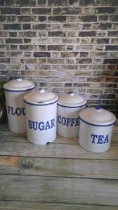 vintage enamelware canisters set of three by therelictrail on etsy