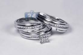 wedding ring sets for wedding rings set groom 14k white gold 0 30 ct