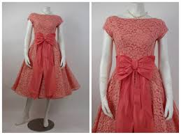 1950 u0027s peach chantilly lace and taffeta prom dress cupcake dress
