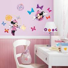 kids wall decals walmart com roommates mickey and friends minnie bow tique peel and stick wall decals
