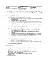 Resume Sample Driver by Forklift Operator Job Duties Resignation Letter From Volunteer