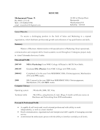 Sales Marketing Resume Format Marketing Manager Resume Objective Free Resume Example And