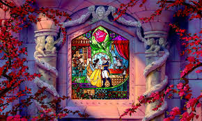 disney beauty and the beast stained glass window wall mural zoom