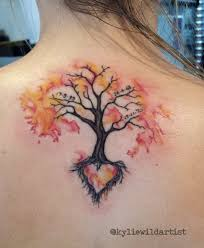 watercolor tree on back