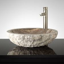 oval chiseled travertine vessel sink vessel sink travertine and